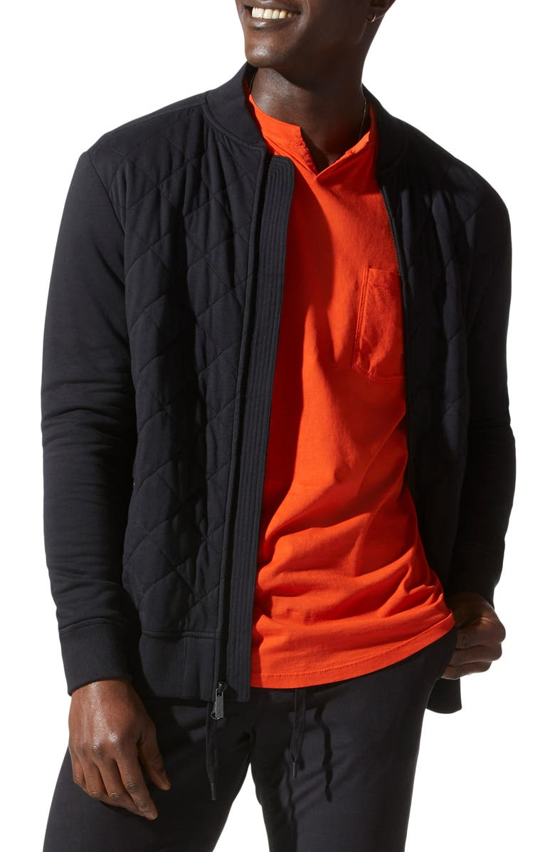 GOOD MAN BRAND Mayhair Quilted Bomber Jacket, Main, color, BLACK