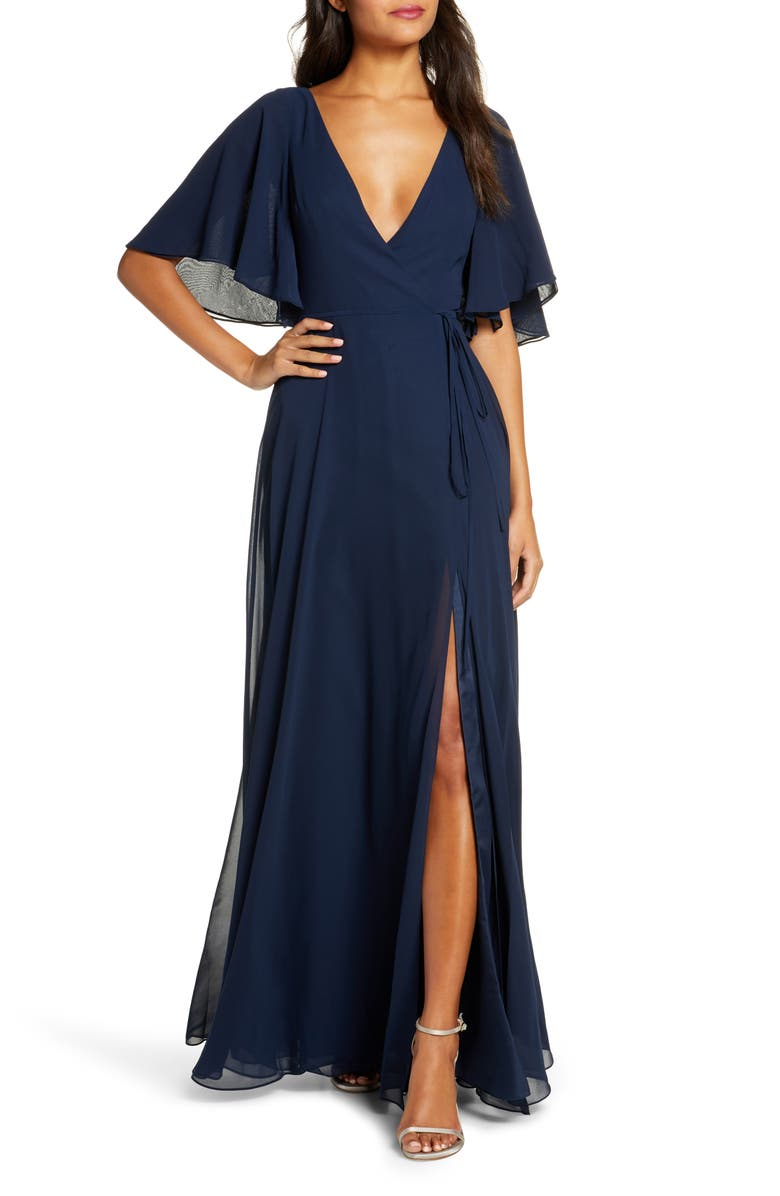 JENNY YOO Ari Flutter Sleeve Faux Wrap Evening Gown, Main, color, 410
