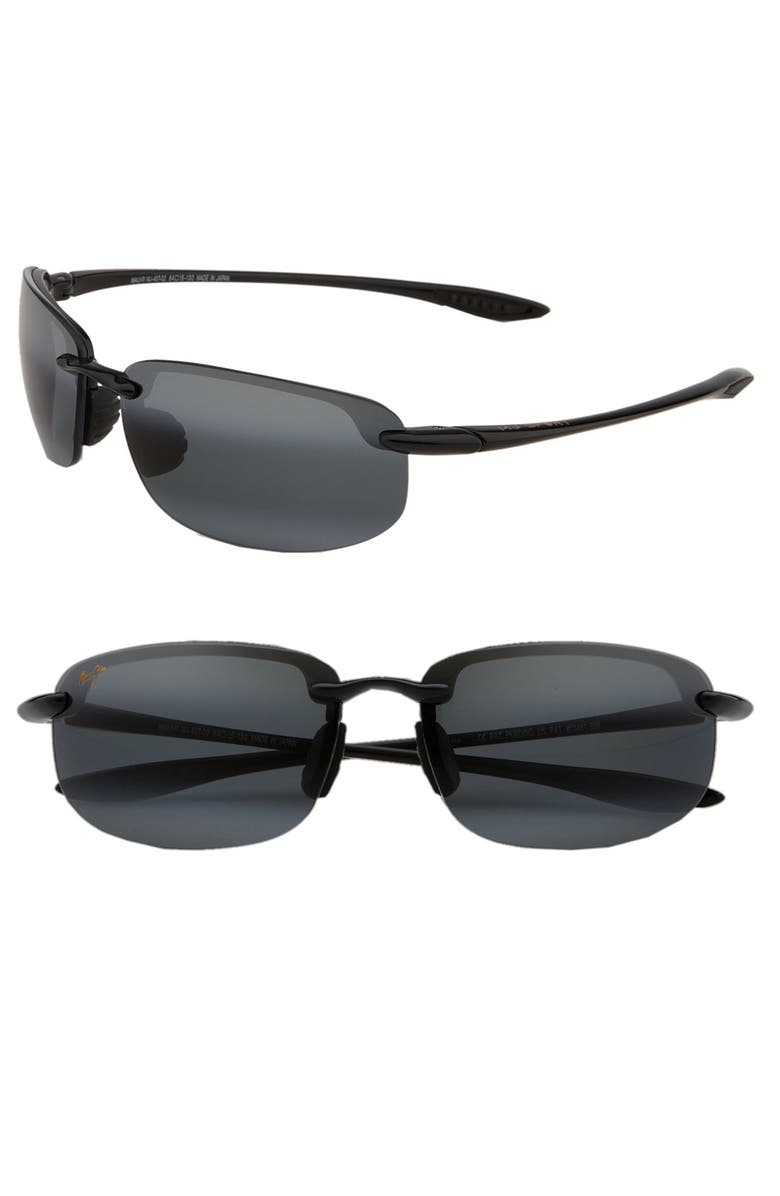 MAUI JIM Ho'okipa PolarizedPlus<sup>®</sup>2 63mm Rectangle Sunglasses, Main, color, BLACK