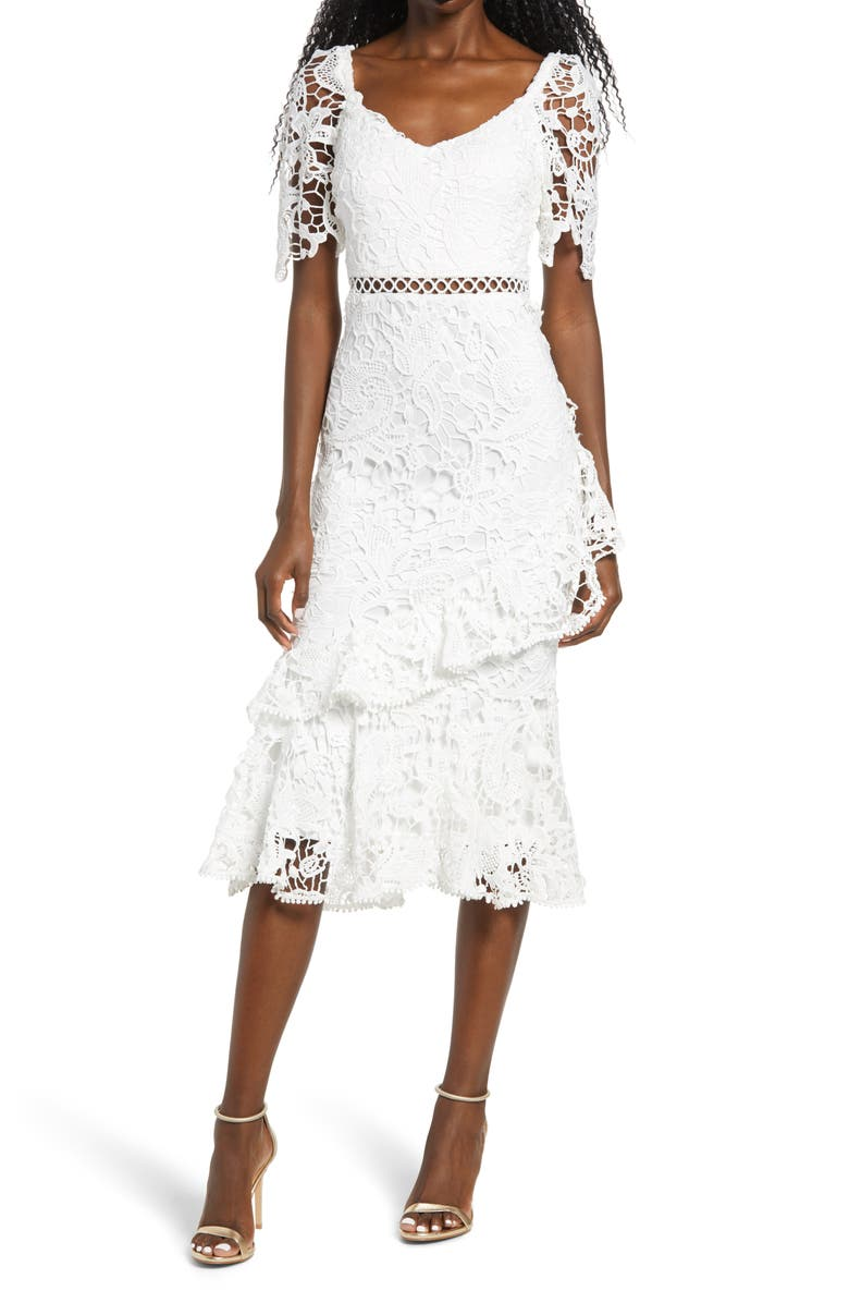 LULUS Briarwood Ruffle Lace Cocktail Dress, Main, color, WHITE
