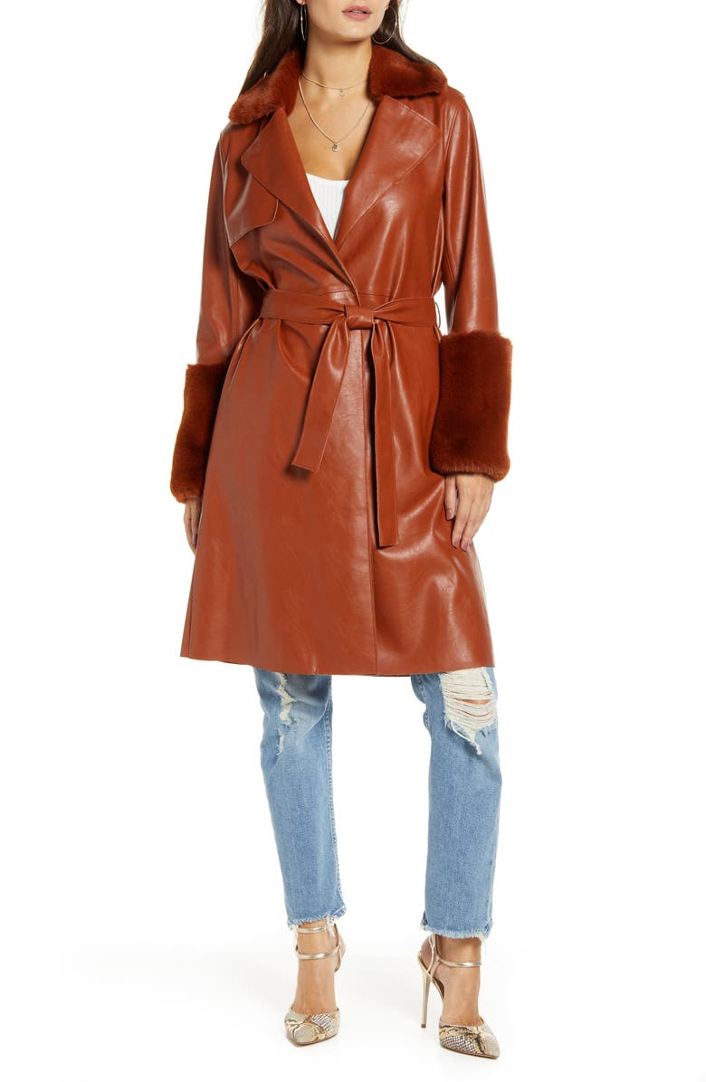 BLANKNYC Faux Leather Coat with Faux Fur Trim, Main, color, RUST + RUST FAUX FUR