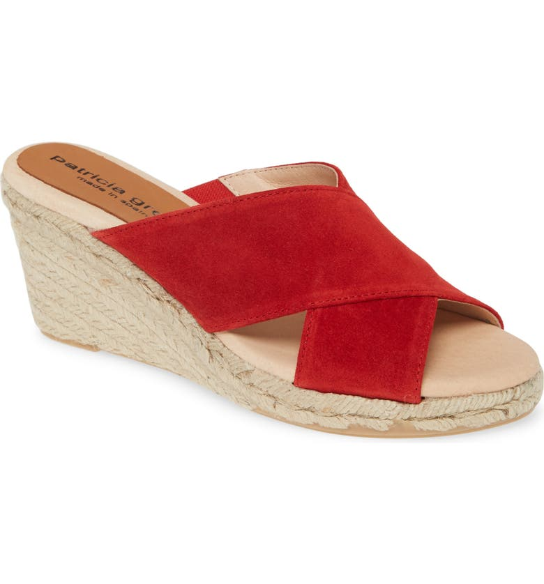 PATRICIA GREEN Annabelle Espadrille Wedge Slide Sandal, Main, color, RED SUEDE