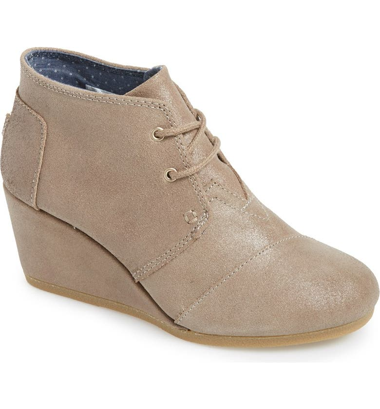 TOMS 'Desert' Wedge Bootie, Main, color, TAUPE OILED SUEDE