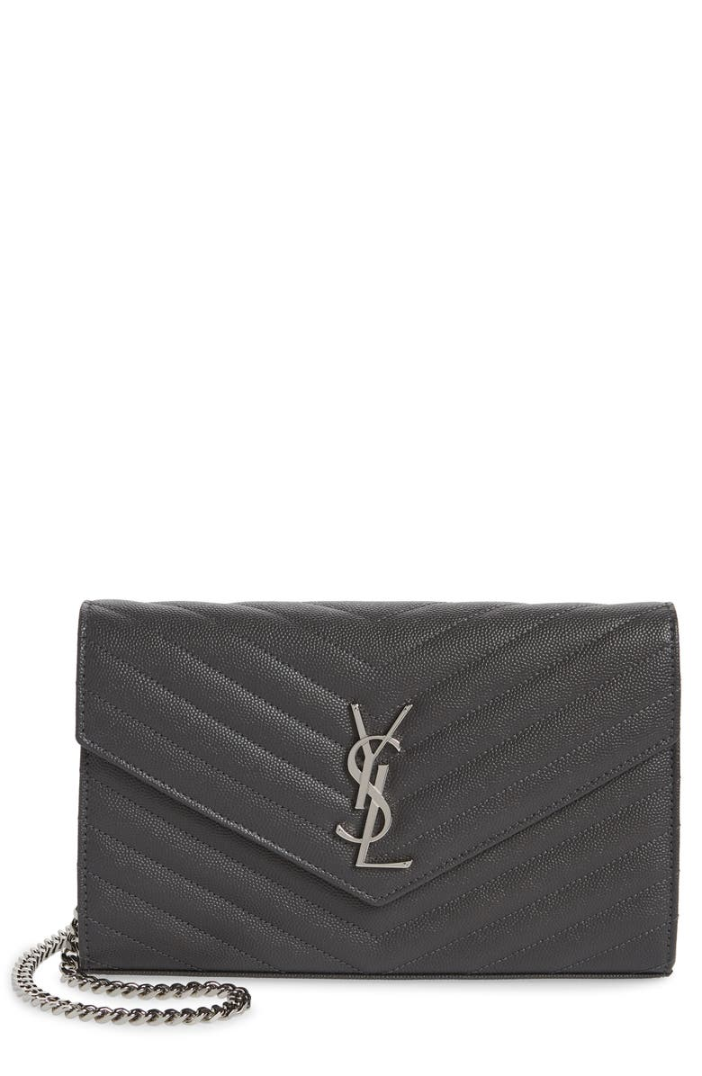 SAINT LAURENT Monogramme Quilted Leather Wallet on a Chain, Main, color, 1112 STORM
