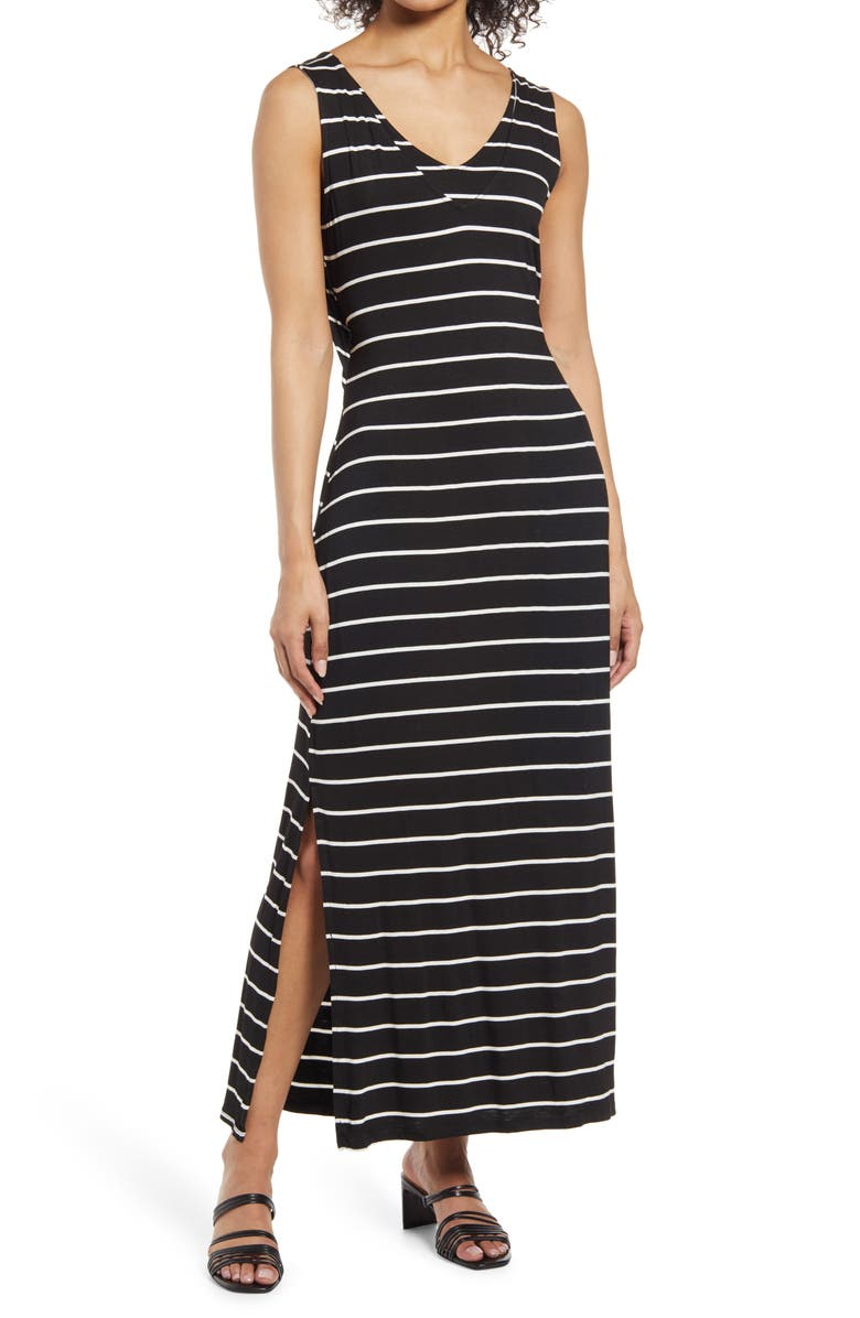 BOBEAU Sleeveless V-Neck Maxi Dress, Main, color, BLACK/ WHITE STRIPE