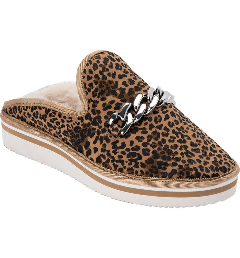 DOLCE VITA Haiden Faux Fur Lined Slipper Mule, Main, color, TAN/ BLACK LEOPARD SUEDE