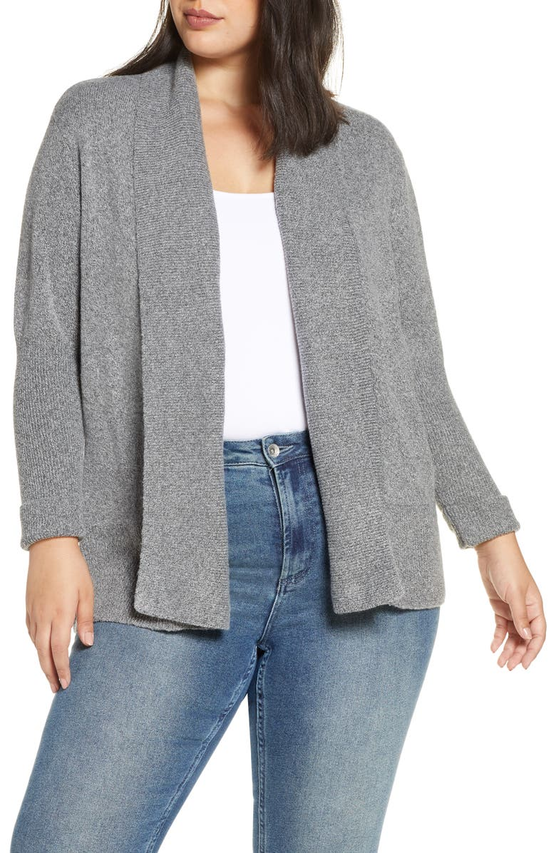 WIT & WISDOM Open Front Cardigan, Main, color, HEATHER GREY