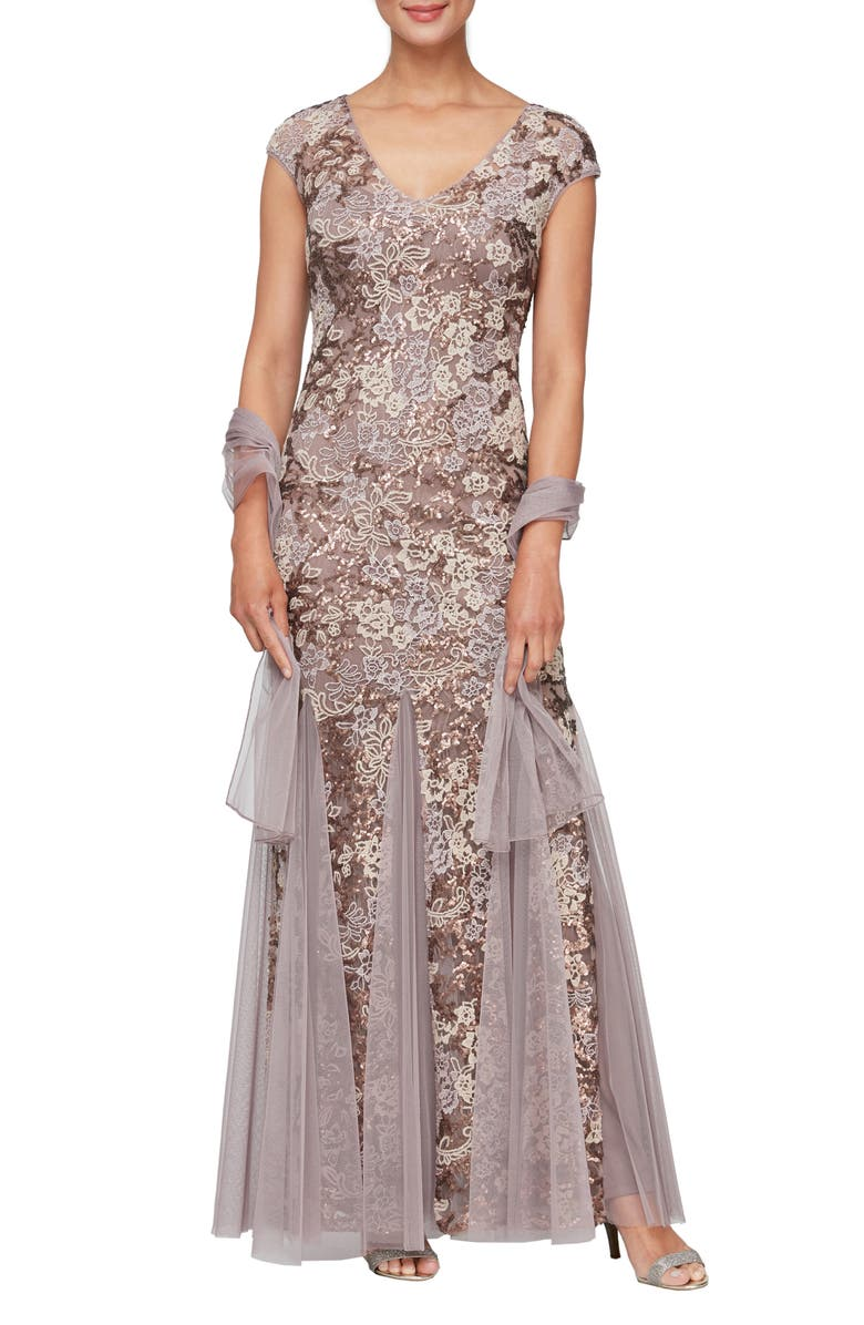 ALEX EVENINGS Sequin Embroidered Trumpet Gown, Main, color, MOCHA