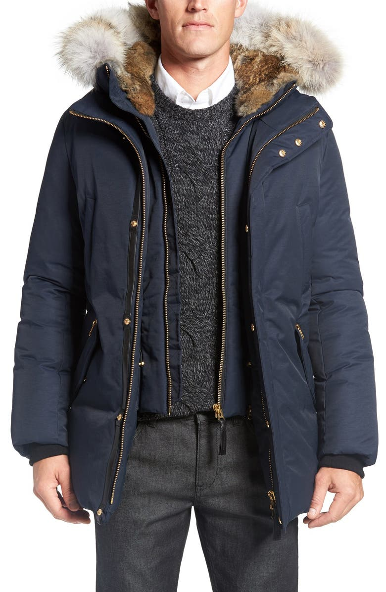 MACKAGE 'Edward' Down Parka with Genuine Coyote and Rabbit Fur Trim, Main, color, NAVY