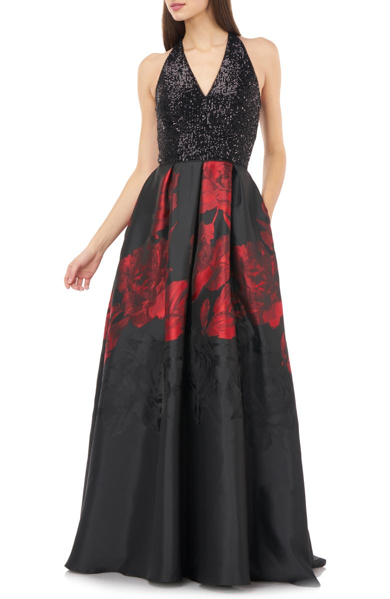 CARMEN MARC VALVO INFUSION Sequin & Floral Ballgown, Main, color, 014