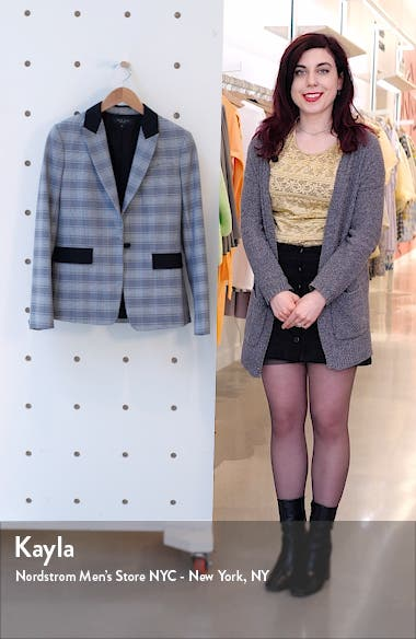 Rylie Glen Plaid Grosgrain Trim Blazer, sales video thumbnail