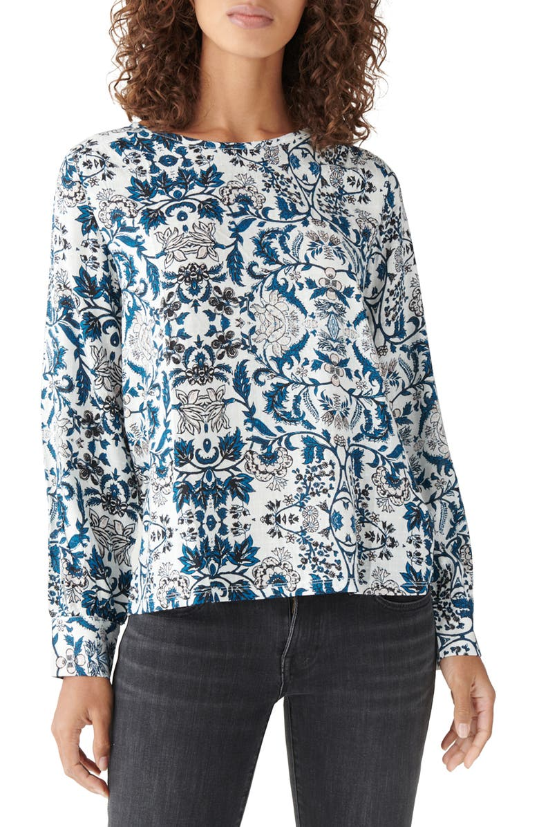 LUCKY BRAND Floral Knit & Woven Long Sleeve Top, Main, color, 100