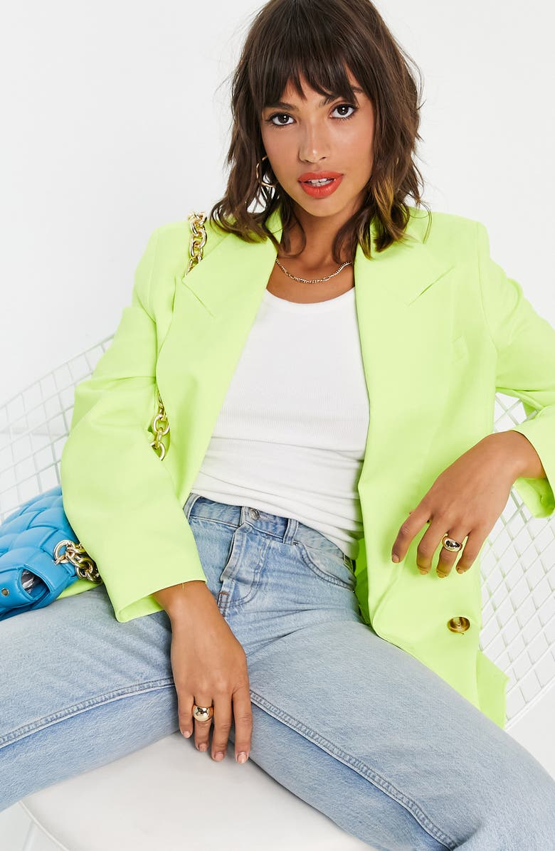 TOPSHOP Bold Shoulder Double Breasted Blazer, Main, color, YELLOW
