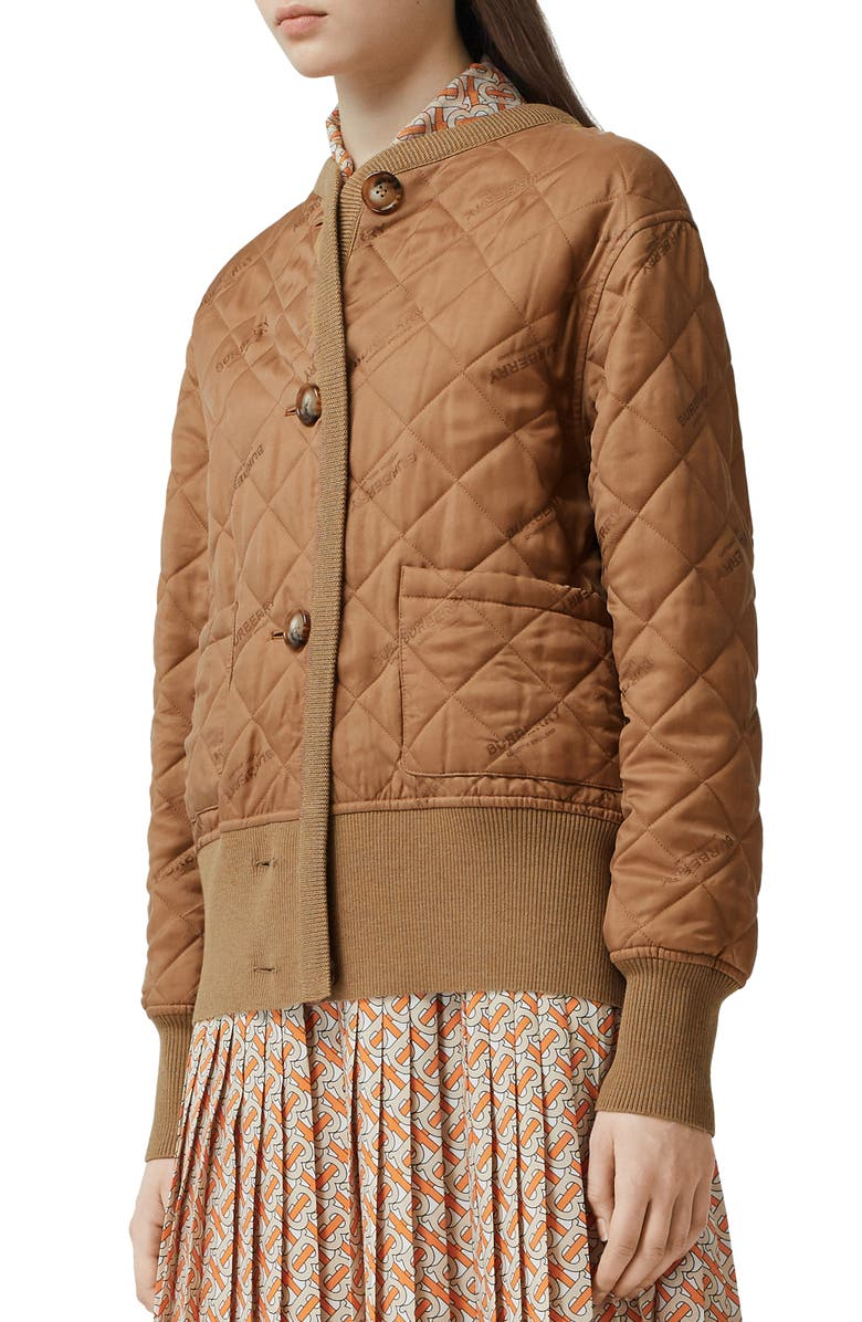 BURBERRY Nairn Quilt Front Logo Jacquard Sweater Jacket, Main, color, 200