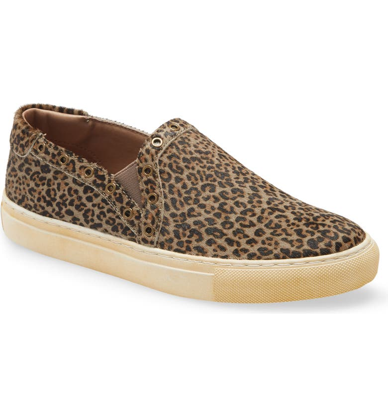 CHOCOLAT BLU Noella Slip-On Sneaker, Main, color, GREY LEOPARD CALF HAIR PRINT