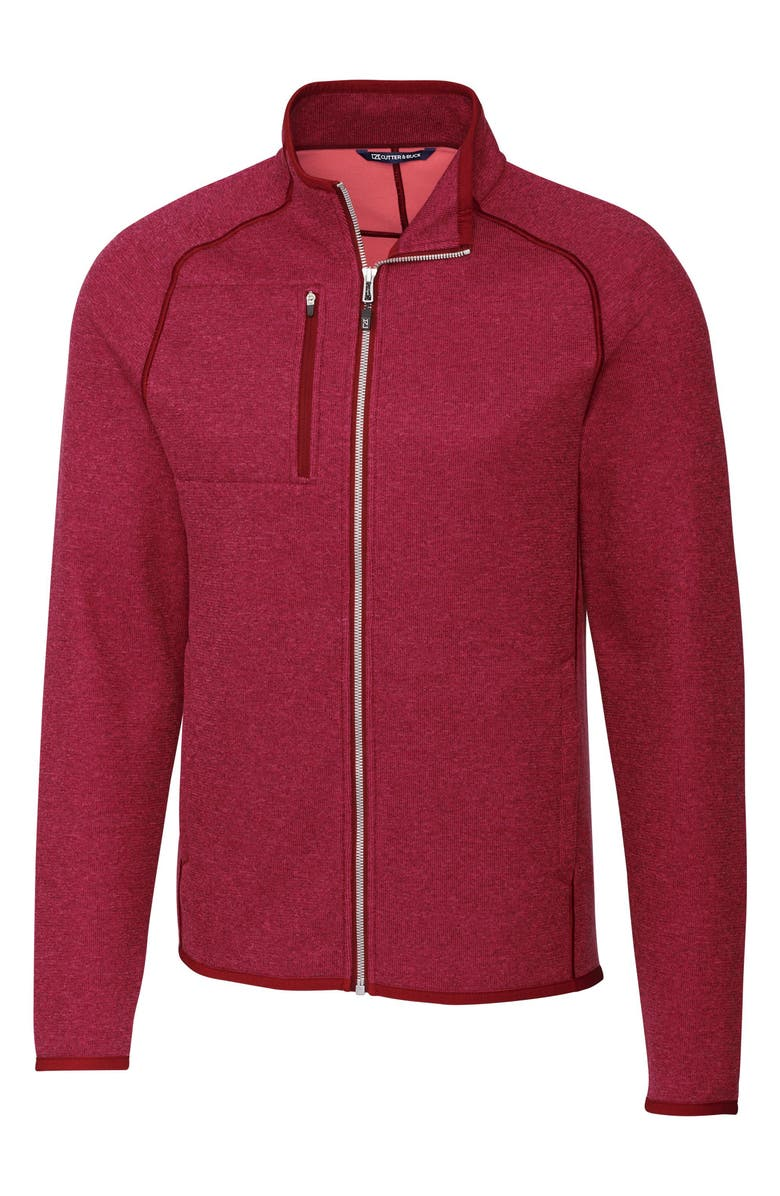CUTTER & BUCK Mainsail Zip Jacket, Main, color, CARDINAL RED HEATHER
