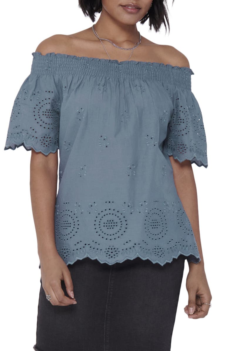 ONLY Shery Eyelet Off the Shoulder Top, Main, color, CHINA BLUE