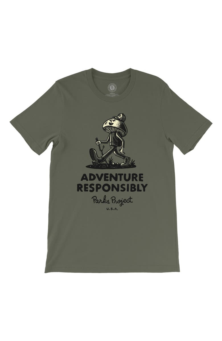 PARKS PROJECT Men's Adventure Responsibly Hiker Graphic Tee, Main, color, OLIVE
