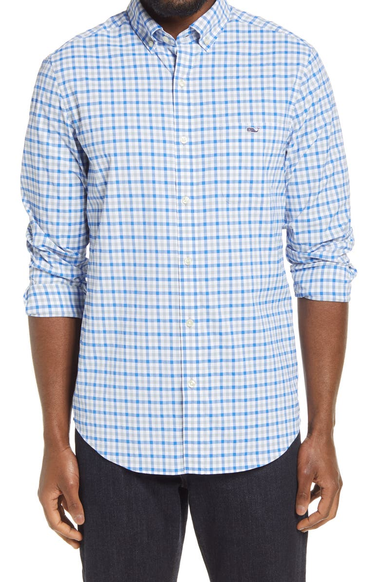 VINEYARD VINES Grouper Classic Fit Plaid Button-Down Performance Shirt, Main, color, BARRACUDA