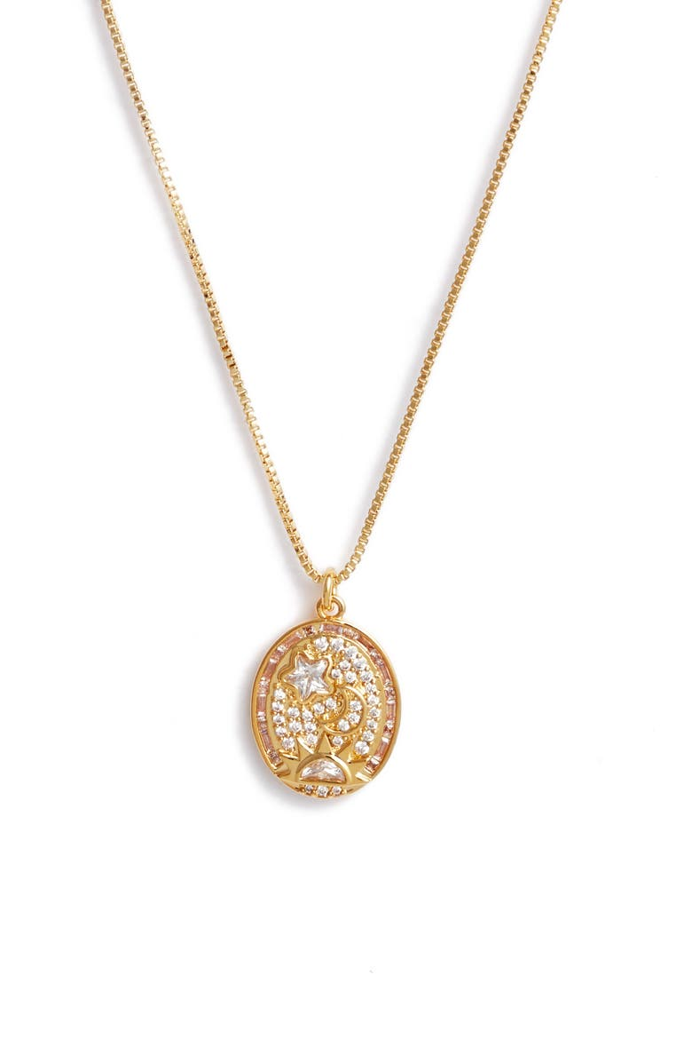 NORDSTROM Cubic Zirconia Pendant Necklace, Main, color, CLEAR- GOLD- STAR