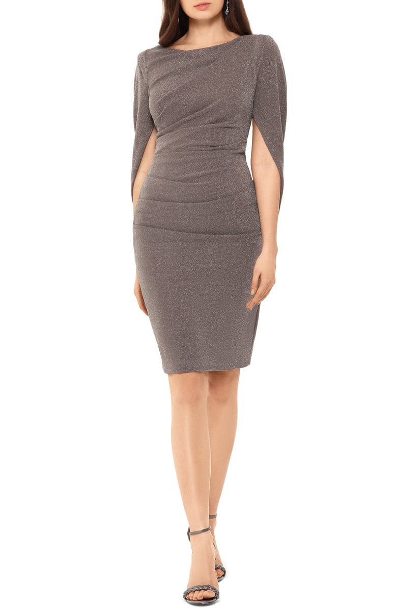 BETSY & ADAM Drape Back Cocktail Dress, Main, color, TAUPE/ SILVER