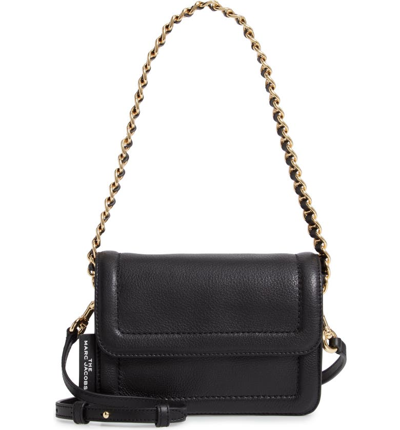 THE MARC JACOBS The Mini Cushion Leather Shoulder Bag, Main, color, 001