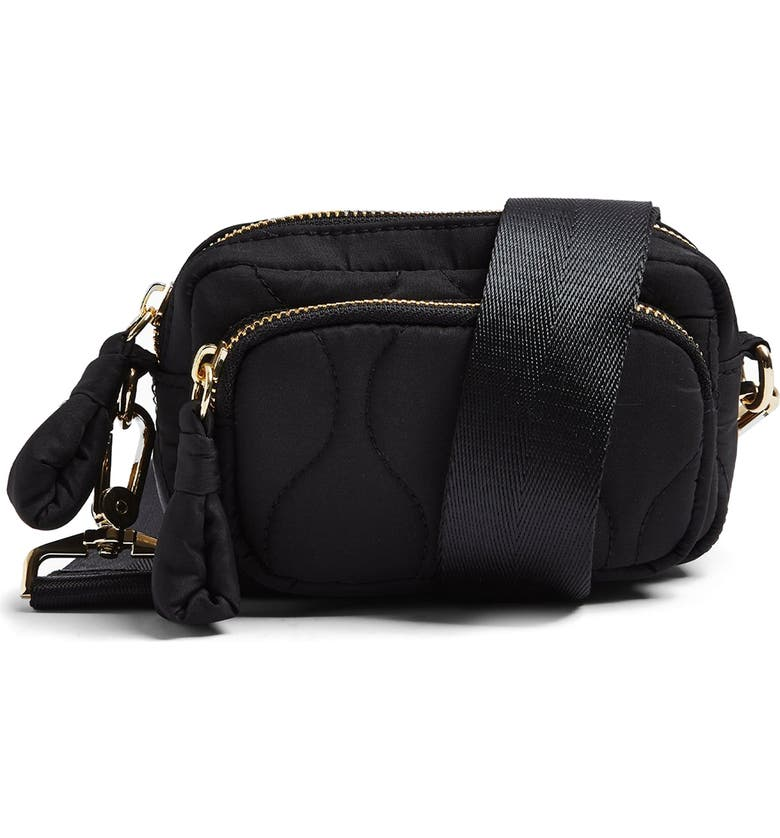 TOPSHOP Micro Quilted Crossbody Bag, Main, color, Black