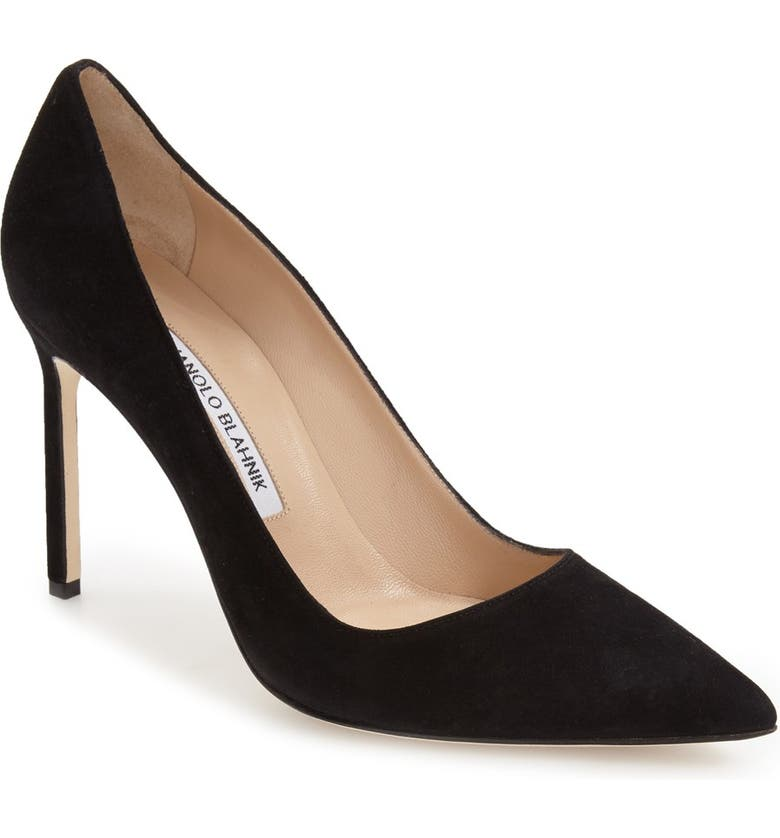 MANOLO BLAHNIK BB Pointed Toe Pump, Main, color, BLACK SUEDE