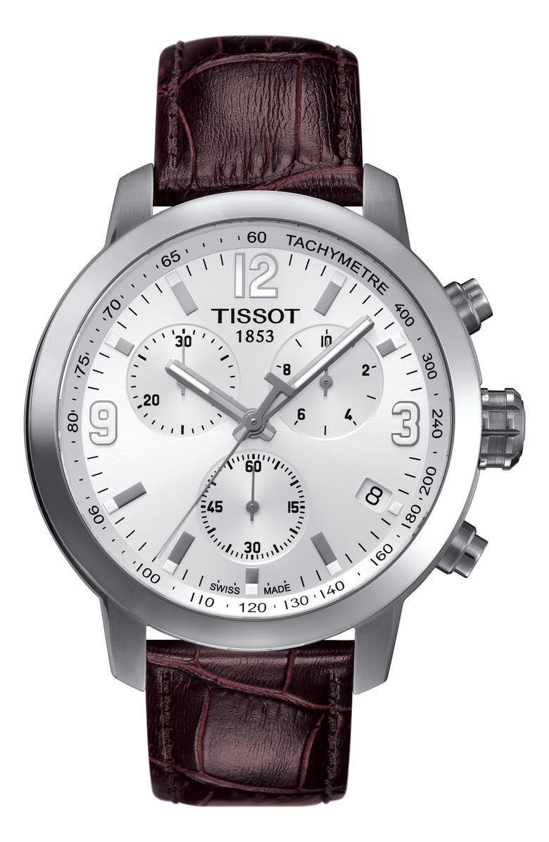 TISSOT PRC200 Chronograph Leather Strap Watch, 42mm, Main, color, 000