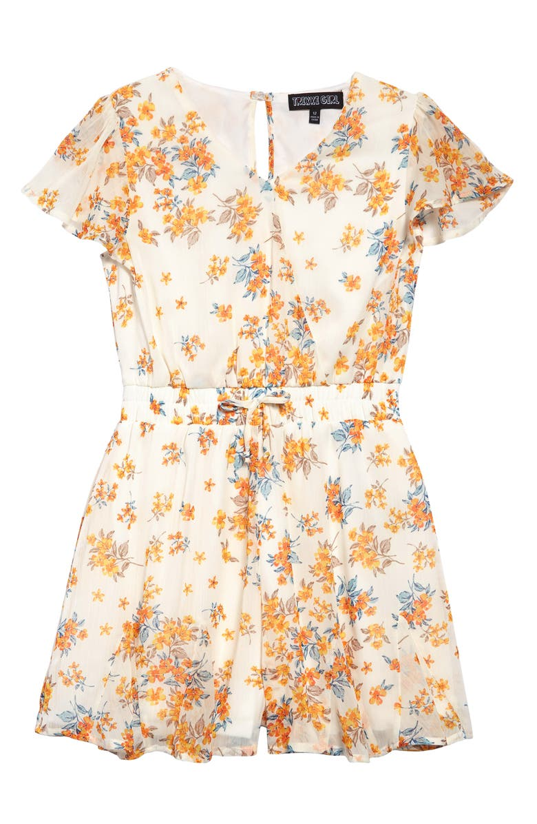 TRIXXI GIRL Floral Faux Wrap Romper, Main, color, 107