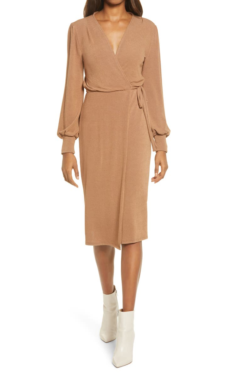 FRAICHE BY J Wrap Long Sleeve Midi Sweater Dress, Main, color, TAUPE