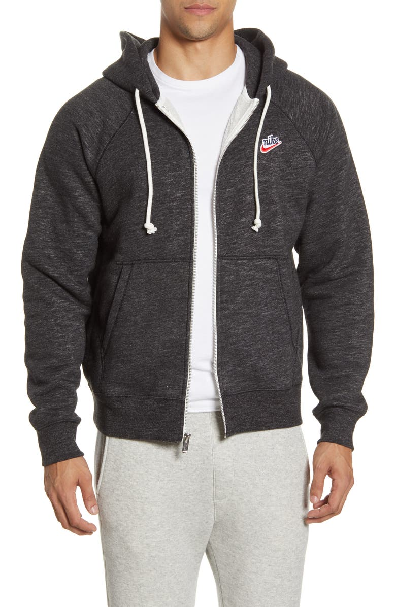 NIKE Heritage Zip Hoodie, Main, color, BLACK