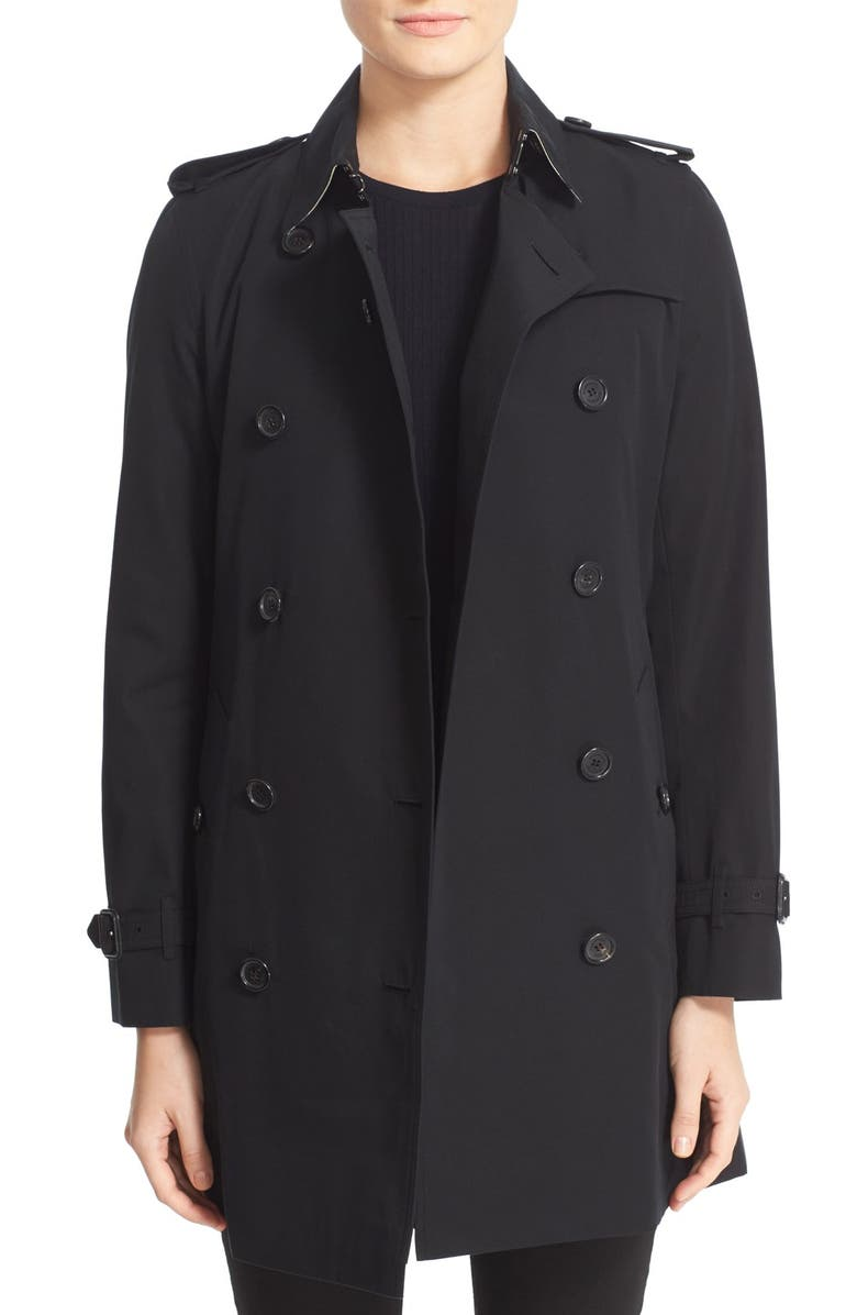 BURBERRY Kensington Mid Trench Coat, Main, color, 001