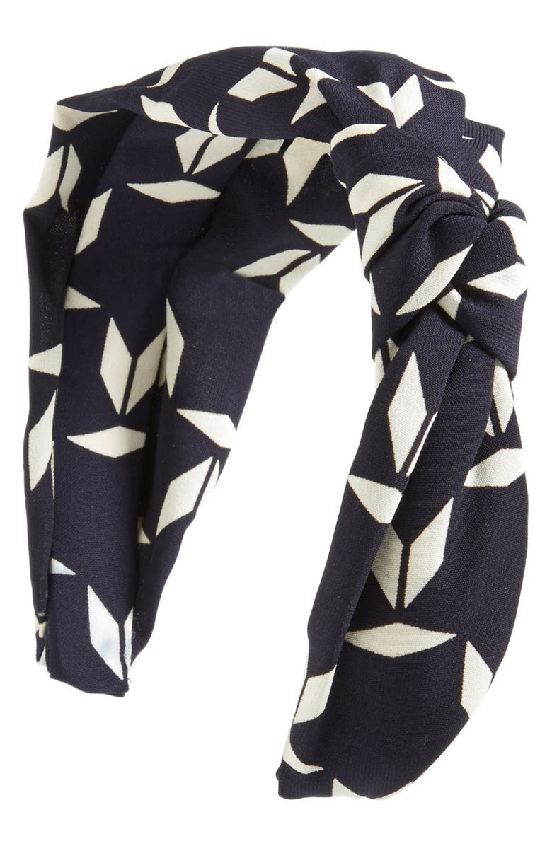 CARA 'Abstract Leaves' Head Wrap, Main, color, NAVY/ WHITE