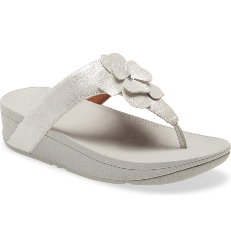 FITFLOP Lottie Crystal Flower Wedge Flip Flop, Main, color, SILVER LEATHER