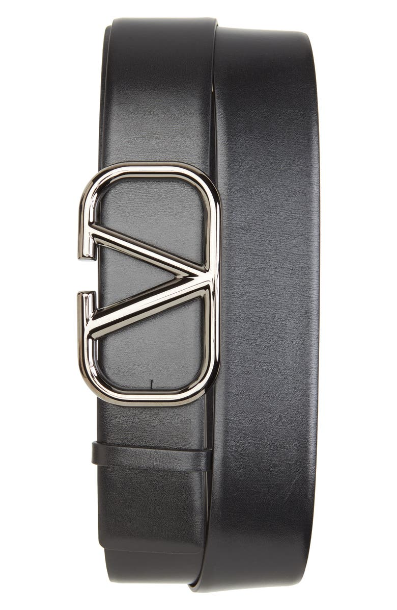 VALENTINO GARAVANI VLOGO Buckle Leather Belt, Main, color, 0NO NERO