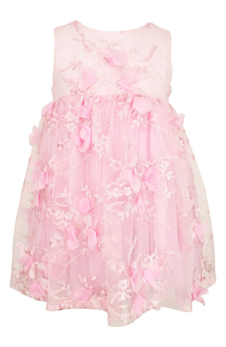 POPATU 3D Floral Embroidered Dress, Main, color, Pink