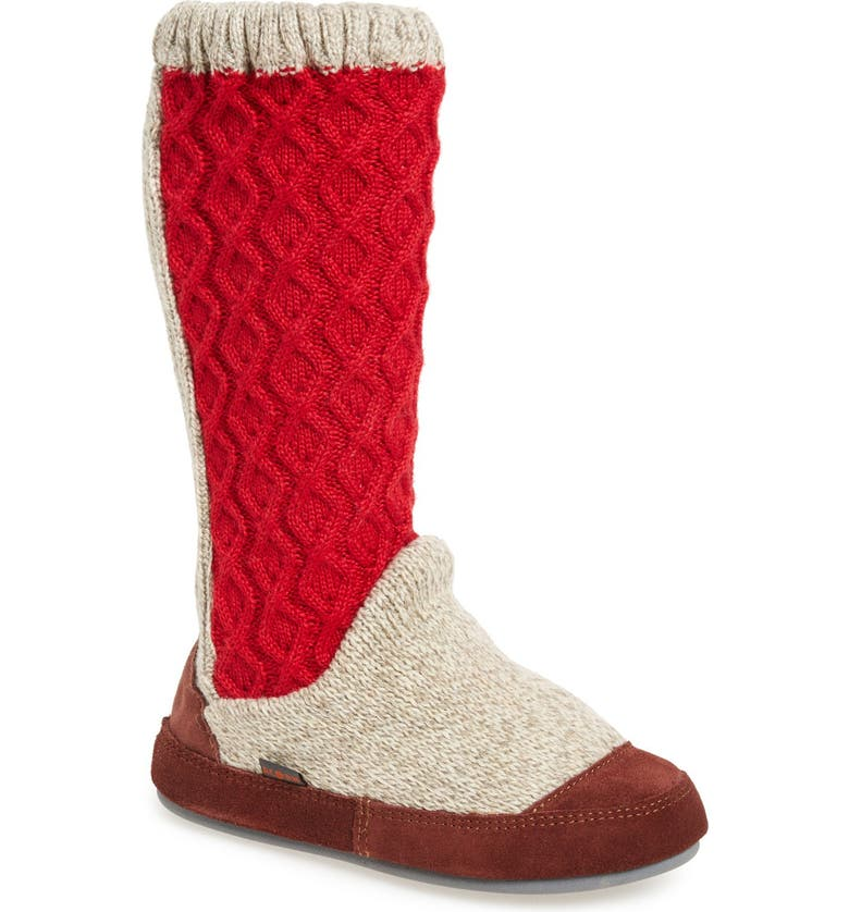 ACORN Slouch Slipper Boot, Main, color, RED CABLE FABRIC