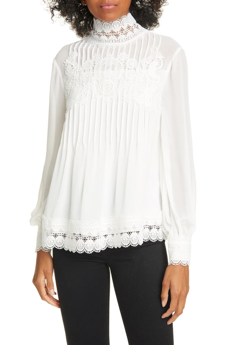 TED BAKER LONDON Cailley Lace High Neck Blouse, Main, color, 900