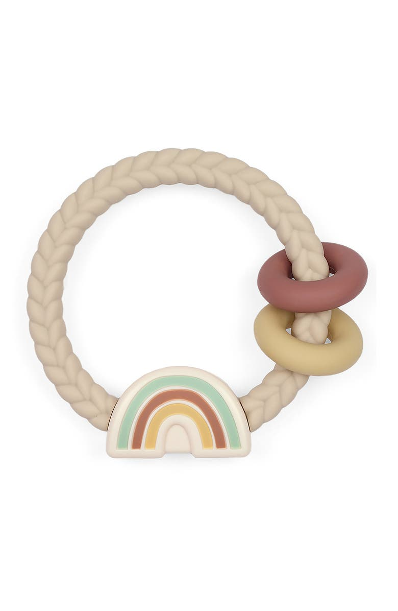 ITZY RITZY Ritzy Rattle with Teething Rings, Main, color, NEUTRAL RAINBOW