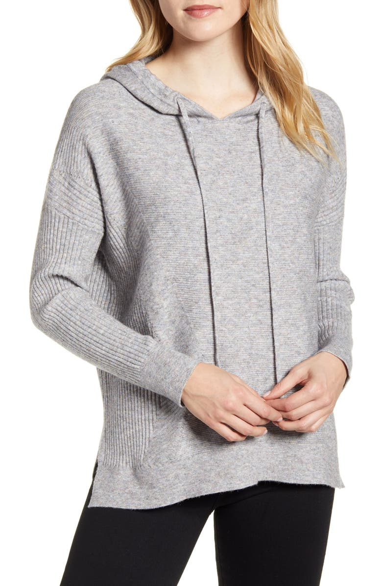 WIT & WISDOM Mixed Rib Stitch Hooded Sweater, Main, color, HEATHER GREY