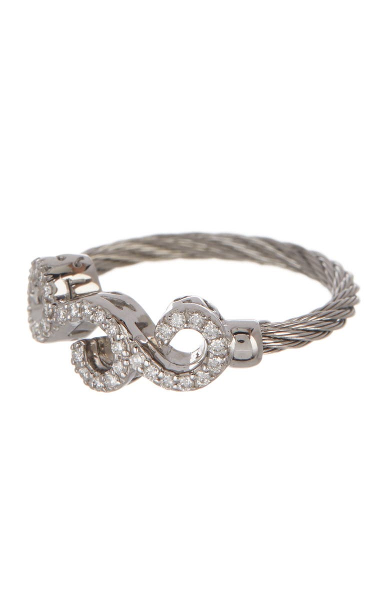ALOR 18K White Gold & Stainless Steel Cable Diamond Filigree Ring - Size 6.5 - 0.15 ctw, Main, color, 20