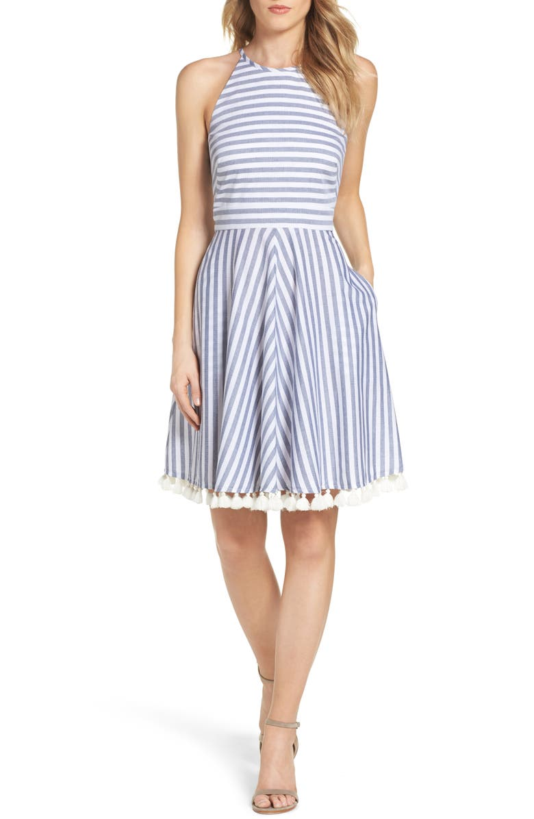 ELIZA J Stripe Fit & Flare Dress, Main, color, 407