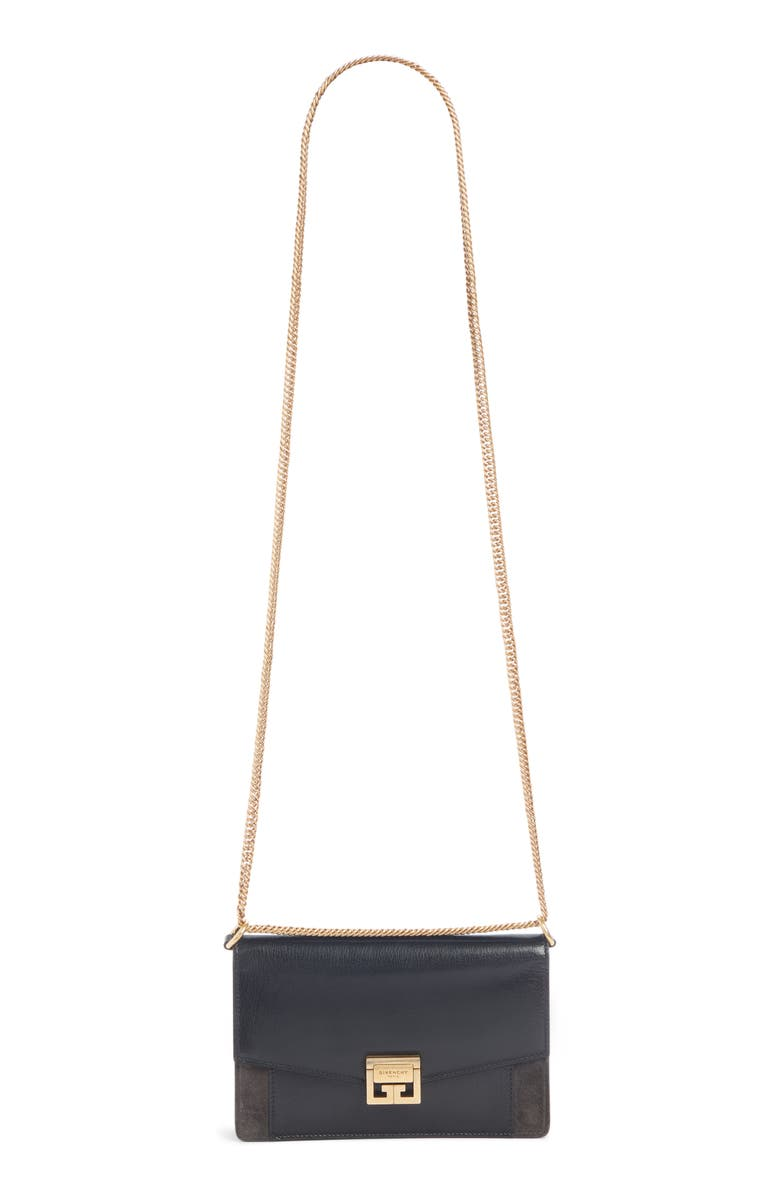 GIVENCHY GV3 Leather Wallet on a Chain, Main, color, BLACK/ GREY