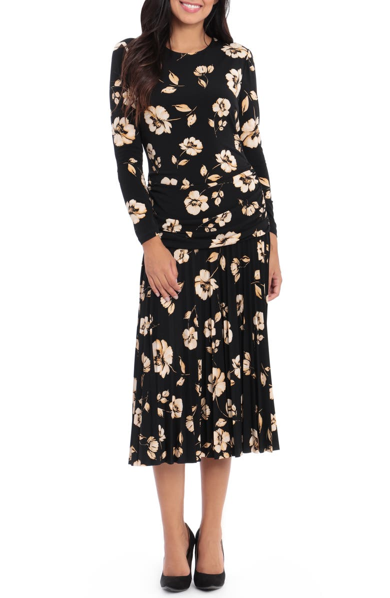 MAGGY LONDON Floral Pleated Midi Dress, Main, color, 001