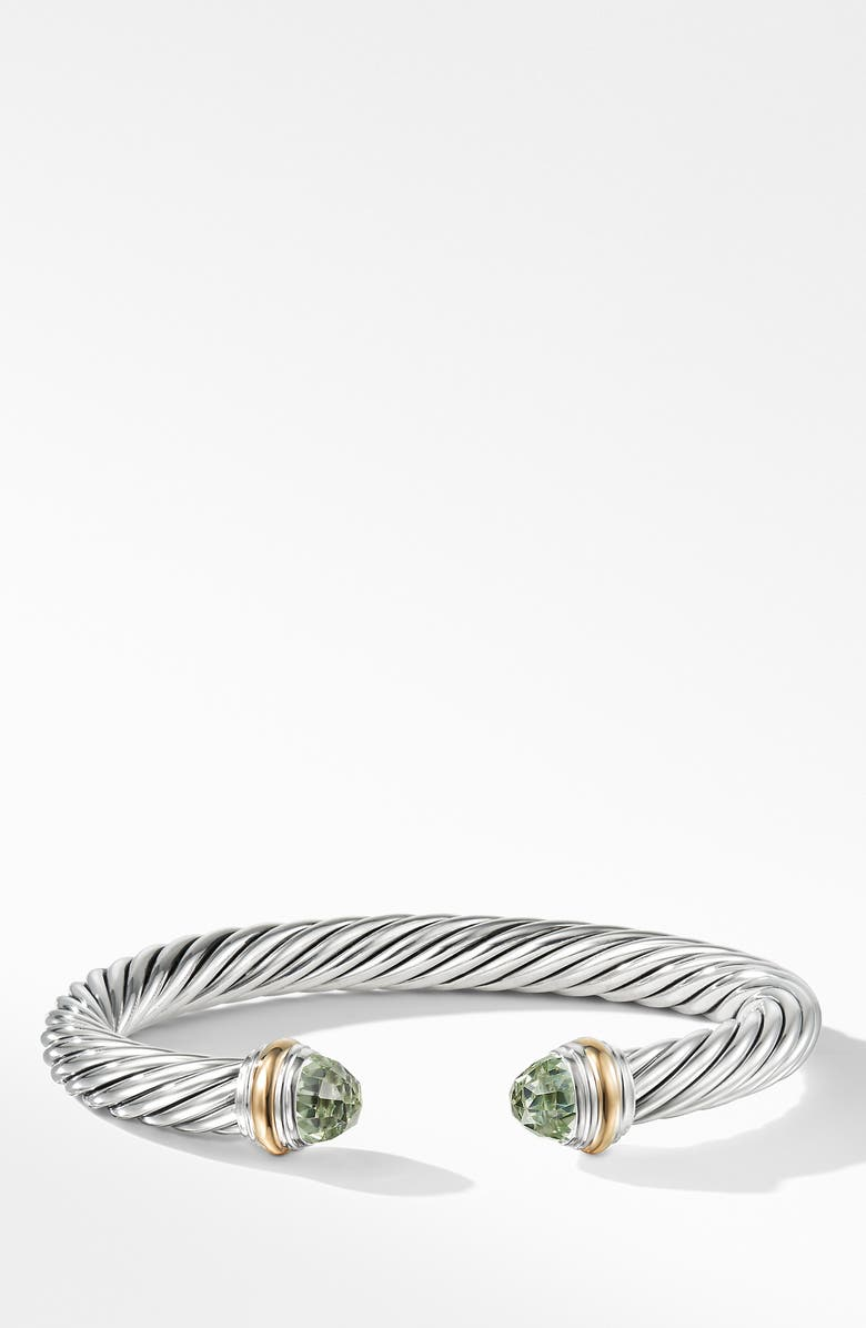 DAVID YURMAN Cable Classics Bracelet with Semiprecious Stones & 14K Gold, 7mm, Main, color, SILVER/ PRASIOLITE
