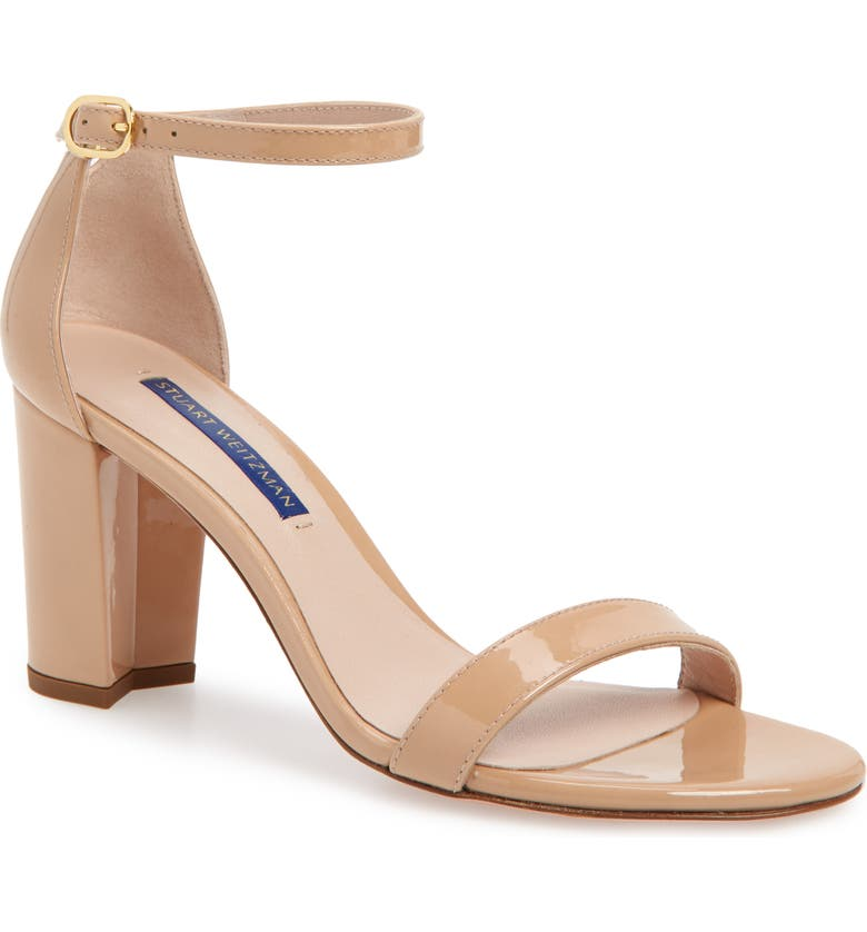 STUART WEITZMAN NearlyNude Ankle Strap Sandal, Main, color, ADOBE PATENT
