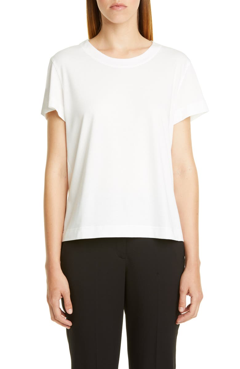 AKRIS PUNTO Short Sleeve Tee, Main, color, 100