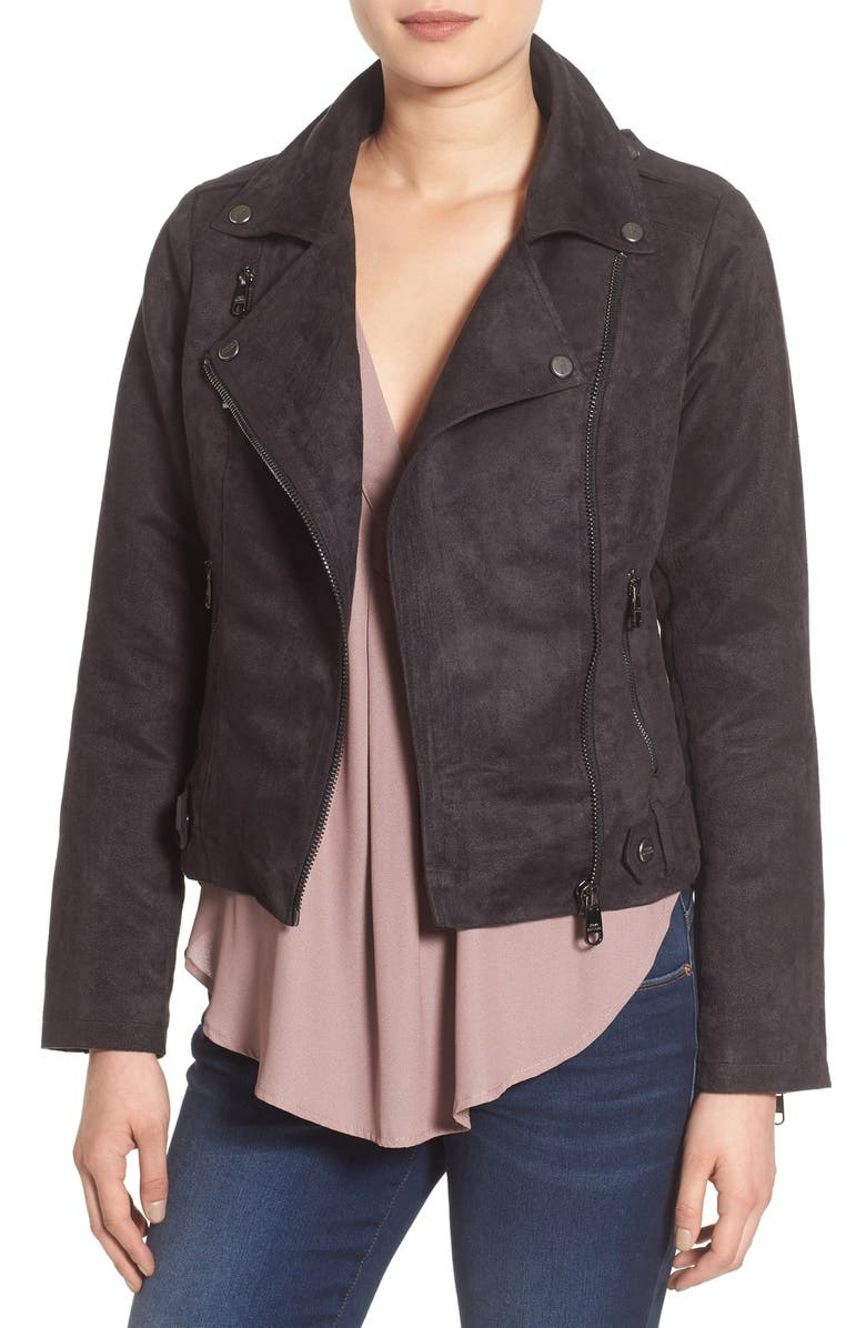 STEVE MADDEN Faux Suede Moto Jacket, Main, color, 001