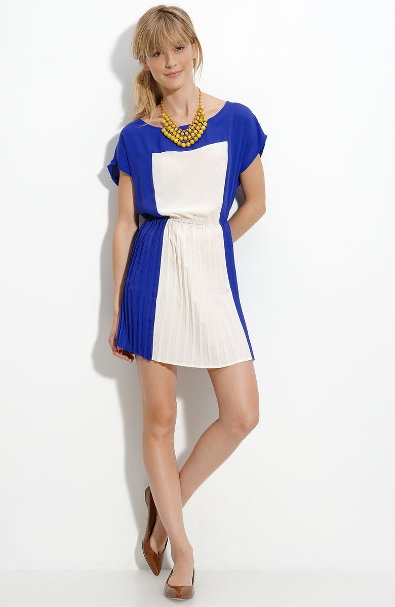 ALL IN FAVOR Colorblock Pleated Dress, Main, color, 345